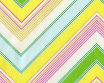 HEATHER BAILEY chevron Pink yellow Zag Stripe Fabric Pop Garden  Fat quarter - free shipping