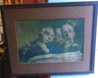 Lithograph Jazz Musicians Art J.w. Crane 1903 Attic Find