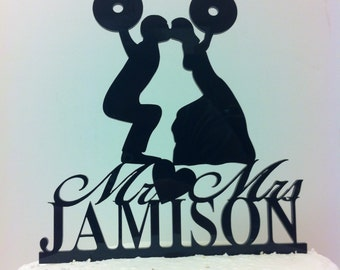 Silhouette Couple Weight Lifting, Cross Fit Training Wedding Cake Topper