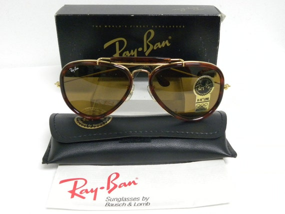 ray ban arista gold 75tz  New Vintage B&L Ray Ban Traditionals Style G Arista Gold Tortoise B-15  Brown Outdoorsman