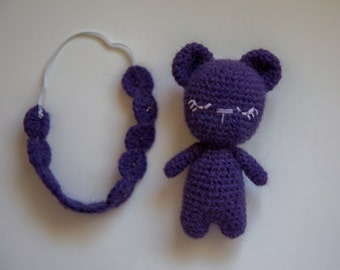 Handmade Crochet Bear Stuffed Animal Toy and Headband