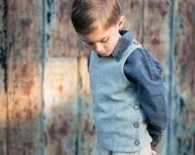 Boy Wool Vest, special occasion, fall boy clothing, boy christmas, winter boy clothing, boy dress clothes, size 2T, 3T, 4T, 5, 6, 7, 8