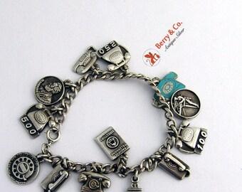 SaLe! sALe! Telephone Charm Bracelet Sterling Silver
