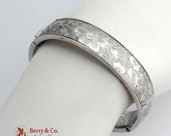 Vintage Bangle Bracelet Sterling Silver Embossed Floral Designs 1950