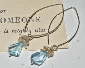 Blue Topaz Drop Earrings Modern Sterling Silver Dangles Simple Easy Earrings