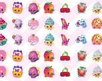 Simple Shopkins Themed Bottle Cap Cabochon Bubble Images Printable Instant Download