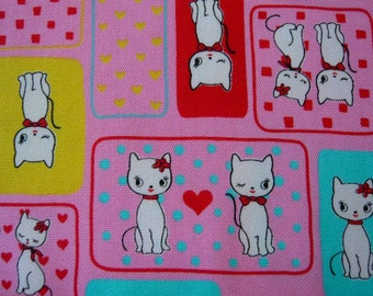Japanese Kitty CATS on candy pink oxford cotton fabric
