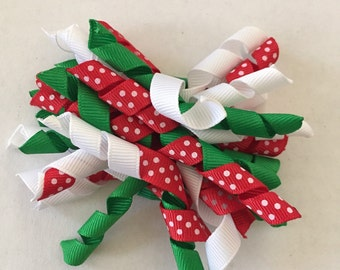 """Red, Green, and White Christmas Korker Hair Clip 4"""""""