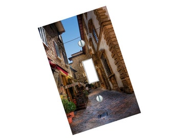 Light Switch Plate cover Cobblestone street in italy elegant beautiful tuscan home decor wall art made in the USA