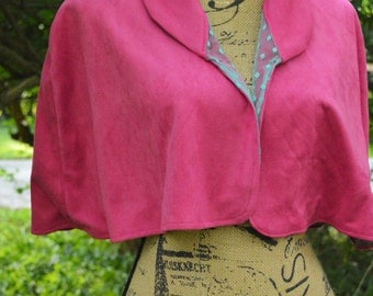 Hot Pink and Turquoise CAPELET, HANDMADE-- Lightweight Faux Suede, Size M, Great as a Summer cover-up!