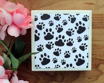 Paw Print Tile Coasters, Tile Coasters, Coaster, Coasters, Tile Coaster, Dog Coasters, Cat Coasters, Ceramic Coasters, Coaster Set of 4