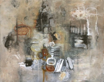 abstract painting gray brown rust modern original art Leah Fitts Rust and Rock Salt