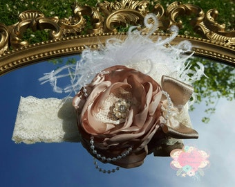 Vintage, Shabby Chic, Satin Flower,Headband, baby headband, Over the top headband, Flower girl headband