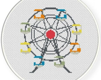 Ferris Wheel, Handmade Unframed Cross Stitch- Home Decor, Colorful Wall Art, Ferris Wheel Art Print, Ferris Wheel Decor, Carnival Art