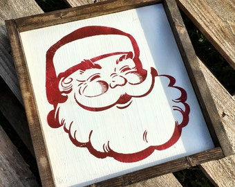 Santa Wood Sign /   Santa Sign /  Holiday Decor / Holiday Sign /  Santa Face Sign