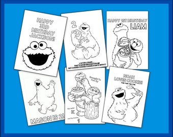 Personalized Cookie Monster Coloring Books - PDF Printable Download - Birthday Party Favors Or Any Occasion