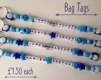 Personalised beaded bag tag or keychain for school bags, PE bags or handbagsetx