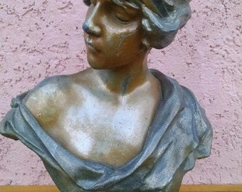 Antique French Art Nouveau Victorian Cast Metal Spelter with Bronze Finish Female Lucrece Statue Bust REDUCED