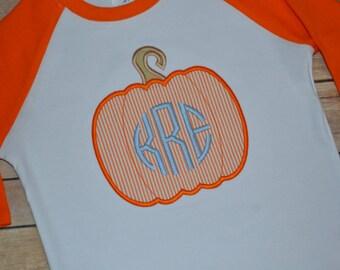 Boy pumpkin monogrammed shirt, boy fall pumpkin raglan outfit, pumpkin patch shirt, toddler shirt, fall shirt, fall pictures, boy shirt