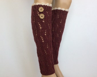 Leg warmers with lace, Boots Women's leg warmers, Wool Blend Leg Warmers with two buttons,Knitted LegWarmer,CognacColor or Select Color