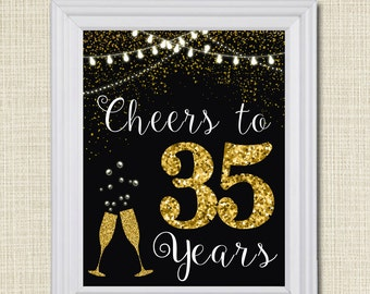 Cheers to sixy years cheers to 60 years 60th wedding sign for 35th birthday decoration ideas