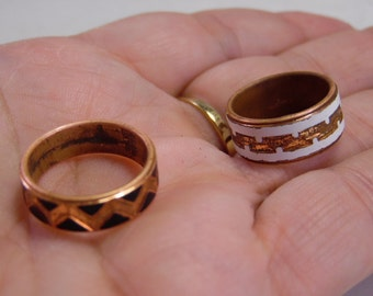 2 Copper Enamel Band Rings-Hallmarked Solid Copper on One Ring