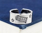 SALE -  Tardis Ring - Doctor Who - Adjustable Aluminum Ring