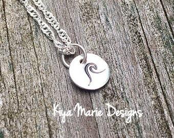 Wave necklace, sterling silver wave, handstamped jewelry, handstamped wave, ocean necklace, tsunami necklace, silver stamped jewelry