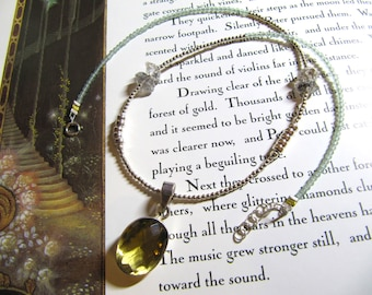 Yvaine: sparkly natural citrine pendant on aventurine, herkimer, and sterling silver necklace