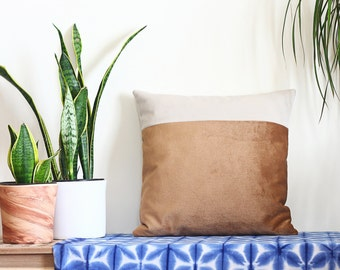 Gold Ivory Velvet Pillow, Shimmery Cushion, Modern Color Block Pillow, Minimal Sofa Cushion, Iridescent Throw, Tan Accent Pillow, Indie Home