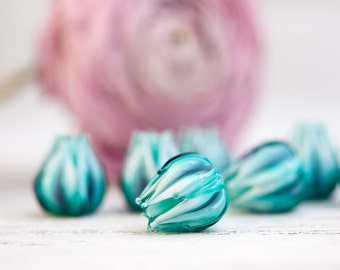 Lampwork Flowers, Lampwork Floral Beads, Aqua Buds, Floral Glass Beads - teal, violet, aqua, sea-green