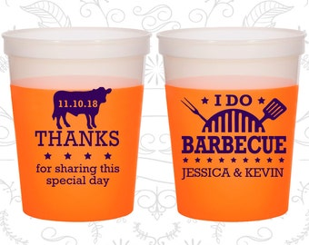 I Do BBQ (C68) Wedding Mood Cups, Thanks for sharing this special day, Wedding BBQ, BBQ Cow, Orange Mood Cups