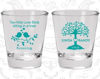 Two little love birds sitting in a tree Kissing, Wedding Favor Glass, Love Tree, Love Birds Wedding Shot Glasses, Wedding Shot Glass (249)