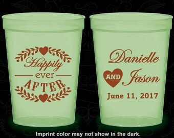 Happily Ever After, Imprinted Glow Cups, Floral Wedding, Heart, Glow in the Dark (274)