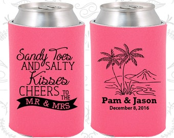 Hot Pink Wedding, Can Coolers, Hot Pink Wedding Favors, Hot Pink Wedding Gift, Hot Pink Party Decorations (358)