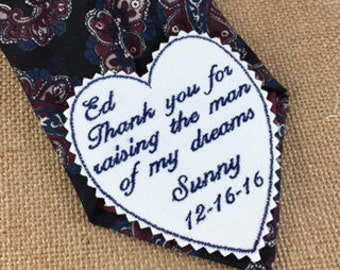 GROOM FATHER or MOTHER - Wedding Tie Patch, Mother in Law Gift, Thank You For Raising, Iron On Tie Patch, Sew On Tie Patch, Father In Law