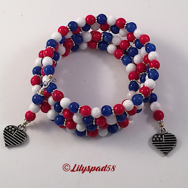 beaded bracelet boho jewelry patriotic jewelry by lilyspad58