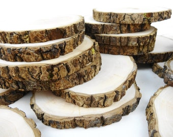 "4"" Wood Slices, Tree Circles, Tree Slices, Wedding Decor, Woodwork, Rustic Wedding Decor,Crafts,Coasters, Ornaments(B101), Set of 10"