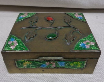 Antique Chinese Metal Trinket Box w. Colorful Leaf & Floral Designs