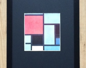 """Framed and Mounted Composition Print by Piet Mondrian 16"""" x 12"""""""