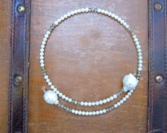 Crystals and little pearls crew necklace with baroque pearls to extremes