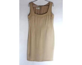Beige Classic Dress,Vintage 90s Dress Beige Linen Dress Sleeveless Dress Shift Dress Summer Dress / Size 14 Dress Large Womens Clothing