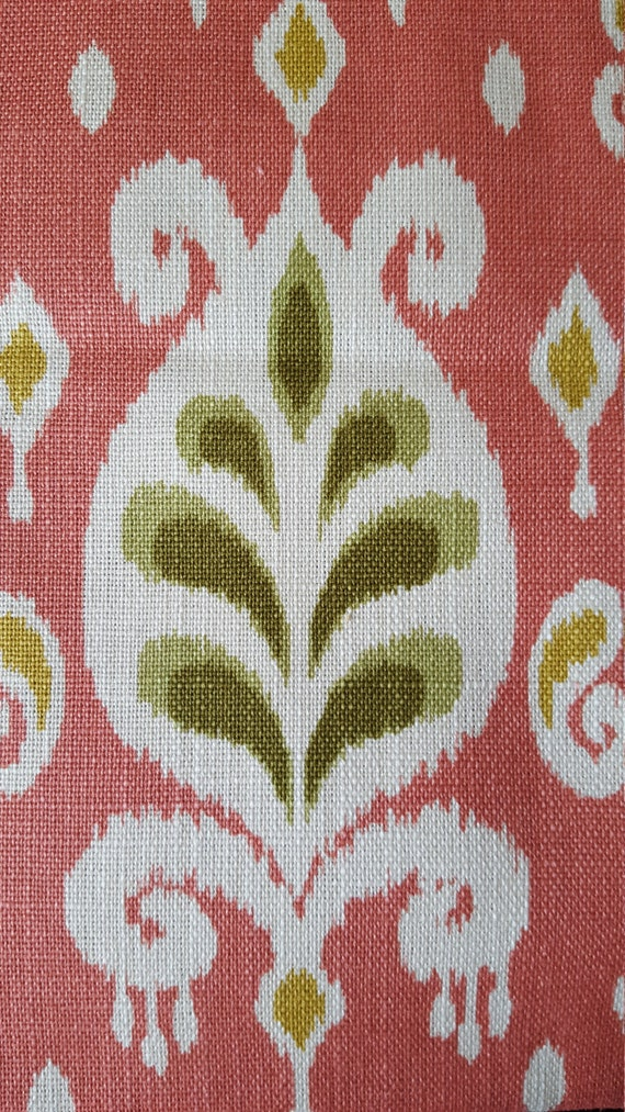 Coral Ikat Fabric Linen Cotton Blend Home Decor Fabric
