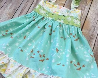 Girls spring dress, summer dress, sun dress, custom dress, boutique dress, flutter sleeve dress