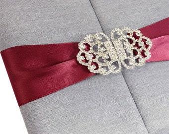 Silk Folio With Embellishment Wedding Invitations, A Set Of 20