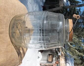 Extra Large Vintage Pickle Barrel/Jar with Original Lid and Art Deco Lines