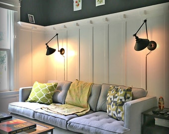 Plug in wall sconce   Etsy. Living Room Wall Lamps. Home Design Ideas