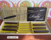 Choose Your Set 6 Vintage Fondue Forks Teak Pine Wood Stainless Steel Dinner Party Mid Century Modern Flatware Cutlery Original Box 60s 70s