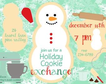 Holiday Cookie Exchange Invitation  mixer theme with Bonus Cookie Label