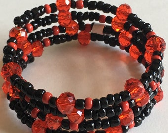 Black and red wrap bracelet